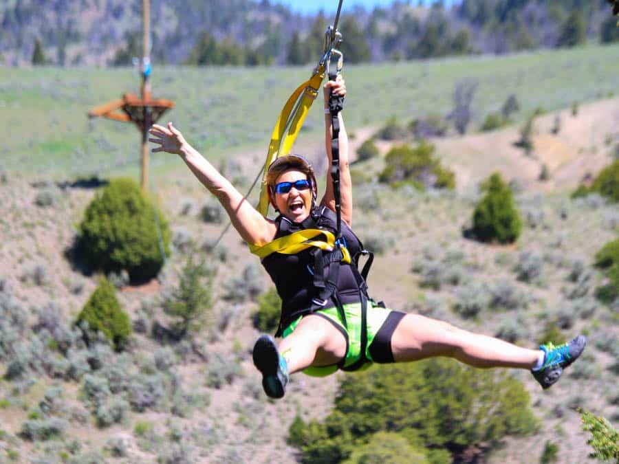 woman-ziplining