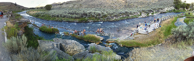 People swimming in the boiling river, Yellowstone's best hot spring and swim spot. Photo by Wesley Fryer