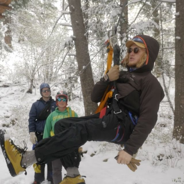 Our zip guide training started the season off with with some pow!❄️ #zipline #yellowstone #yellowstonezip #zipguidetraining #guidedzipline #ziplinemontana #montana #mtww #montanawhitewater